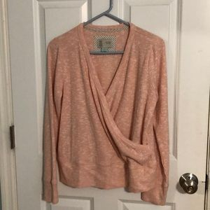 Anthropologie light sweater. Faux wrap, like new